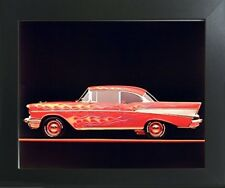 Classic Chevy Bel Air 1957 Vintage Car Wall Decor Art Print Framed Picture