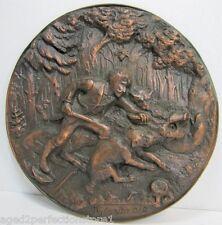 Old HUNT SCENE Plaque ornate details Wild Boar Dogs Hunter Knife Polowanie