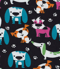 Bright Dogs Snuggle Cotton Flannel Fabric - BTY - Dogs and paw prints on black