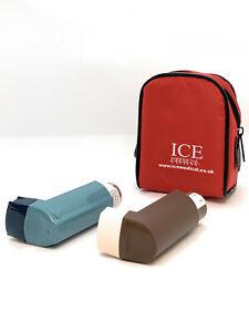 Red ICE Medical 2 Inhaler Medication Bag Case (Small) - Asthma, Travel, Home