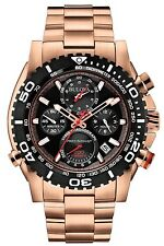 Bulova Men's Precisionist Chronograph Quartz Rose Gold Black Dial Watch 98B213