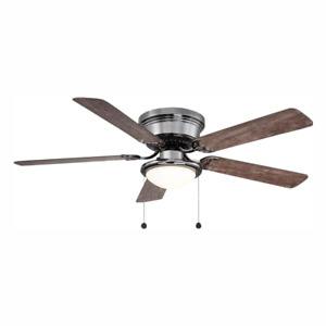 Hugger 52 in. Ceiling Fan with LED Light Gunmetal Low Ceiling Flush Mount