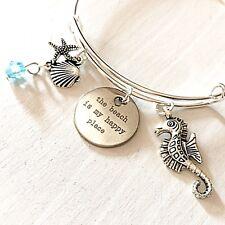 The Beach is My Happy Place Silver Bangle Bracelet Jewelry Gift for Beach Lovers