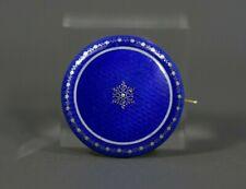 Art Nouveau Secession 14 k Gold Blue Guilloche Enamel Brooch
