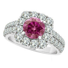 1.98 Carat Pink VS Round Diamond Solitaire Ring 14K WG Valentine Day Spl.Sale