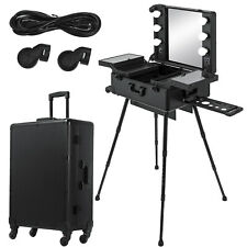 2 in 1 Cosmetics Makeup Case Trolley Travel Box With Legs LED Lights