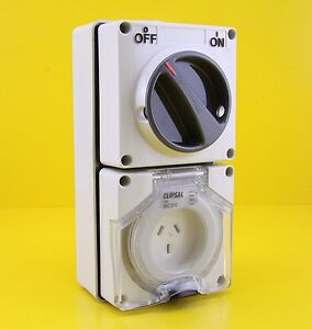 Clipsal 56C310 Switched Socket Outlet Single Phase 250VAC 3 Pin 10A IP66 - Grey