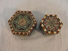 (2) Hand Made Jewelry Boxes Natural Painted / Finished Wood Clasp Closed 32819