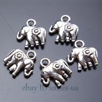 50pcs 12mm Charms Peace Flower Elephant Pendant Tibet Silver DIY Jewelry A7419