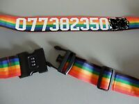Personalised Printed or Plain Luggage Suitcase Strap Belt 3 Lock Combination