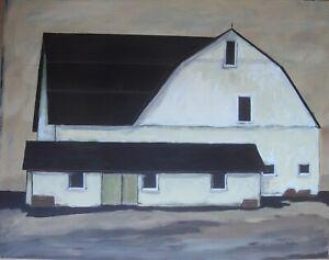 Original American Art Acrylic Painting 20 x 16 canvas  The Barn
