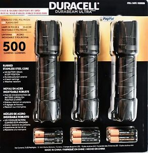 Duracell Durabeam 500 Lumens Ultra LED Torch Flashlight 3 Pack With Batteries