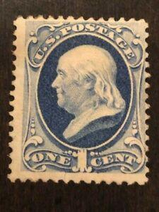 US Stamp Scott #182 Mint Hinged 1c Dark Ultramarine Franklin SCV - $200
