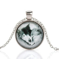 Charm Vintage Wolf Cabochon Tibetan Silver Glass Chain Pendant Necklace New FT