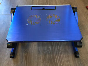 Lavolta laptop stand, home office stand up laptop desk, blue