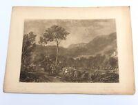 S. Myers Engraving Mezzo Landscape Cows Village Trees Farm Mountain Scene 1800's