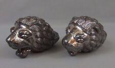 accotoirs anciens en métal argenté têtes de lions pour fauteuil empire accoudoir