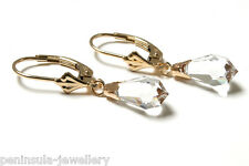 9ct Gold Swarovski Crystal Elements LeverBack Earrings Boxed Made in UK