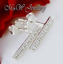 925 Silver Rhodium Plated Stud Earrings Clear Cubic Zirconia 2mm x 13mm