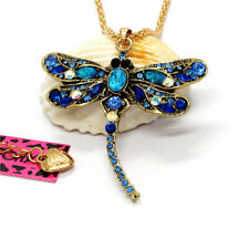 Hot Blue Crystal Gold Plated Dragonfly Betsey Johnson Pendant Sweater Necklace