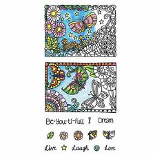 Hampton Art color colour me colouring in book clear cling craft stamp BEAUTIFUL