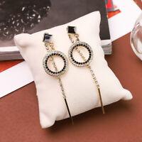 DV_ Beautiful Circle Long Dangle Pendant Rhinestone Drop Earrings Jewelry Gift P