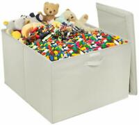 Toy Box Storage Organizer Bench Chest Flip-Top Lid, Kids Collapsible Large Bin