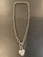 Vintage Sterling Silver Heart Charm Link Heavy Necklace 66.87g