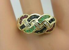 14K Gelbgold Rubin Emerald Blau Saphir Ring Flechten Design 1.24 Karat