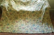 Antique Vtg French Print Linen Drapes Curtains Custom PAIR 2of2 Farmhouse
