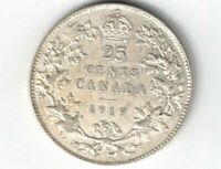 CANADA 1919 TWENTY FIVE CENTS QUARTER GEORGE V STERLING SILVER COIN