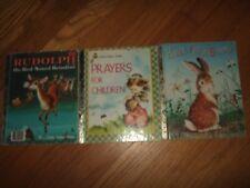 3 Vtg 60s-70s Little Golden Book lot Rudolph home for bunny prayers for children