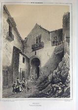 MÁLAGA , PUERTA DE LA ALCAZABA, Litografía original de Parcerisa 1839-1865