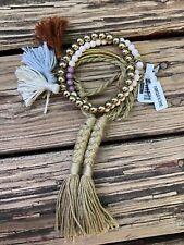Free People cluster bracelet Boho tassel fringe beaded $28 Beige gold cream NEW
