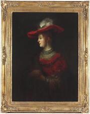 Follower Rembrandt Van Rijn Huge Large Antique Oil Painting Portrait Lady Wife