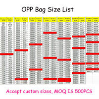235 Sizes Self Sealable seal OPP Clear plastic Cellophane bags Adhesive OPP bag