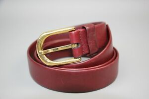 GUCCI GG Vintag 70s Authentic Red Leather Gold Buckle Belt  Size: 30-34