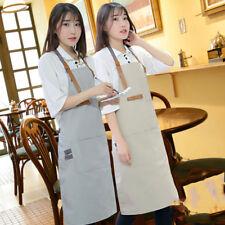 1Pc Canvas Bib Apron Leather Strap Barista Baker Work Uniform Bartender Bbq Chef