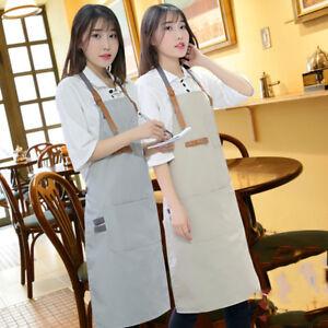 Hot Canvas Bib Apron Leather Strap Barista Baker Work Uniform Bartender BBQ Chef