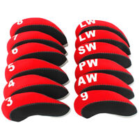 12PCS Protective Iron Covers for Callaway Club Headcovers Caps 3-LW Red&Black