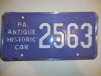 {1} Vintage Pennsylvania Antique Historic Car License Plate # 2563 Ships FREE