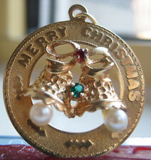 Beautiful Solid 14k Gold Merry Christmas Pendant w/ Pearls, Emerald & Ruby