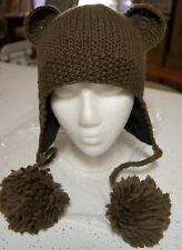 BROWN BEAR HAT knit LINED cub scout teddy animal ski cap costume ADULT grizzly