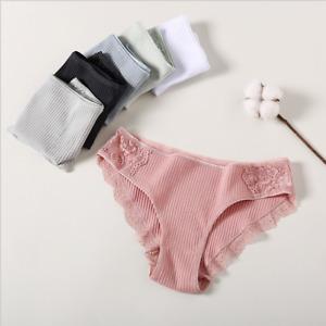 6er Pack Damen Slips mit Spitze Unterwäsche Unterhose Pantys Baumwolle Gr. M-2XL