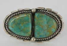 Massive Native American, A+ grade 2 Turquoise Sterling ring by Tom Begay