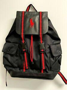 POLO RALPH LAUREN Fragrances Black/Red Backpack Big Pony Travel Gym Weekend Bag