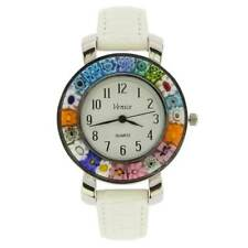 GlassOfVenice Serena Murano Millefiori Watch With Leather Band - White