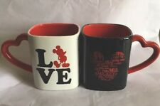 Disney Store Mickey Mouse Red White Black Love Heart Valentines Mugs Set Of Two