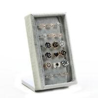Jewelry Display Organizer Stand Ring Storage Showcase Grey Velvet Box