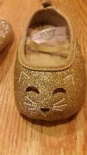 Carter's Baby Girls Cat Ballet Flats 3-6 Months Infants Gold Glitter Adorable